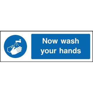 """Picture of """"Now Wash Your Hands"""" Sign"""