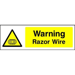 """Picture of """"Warning-Razor Wire"""" Sign"""