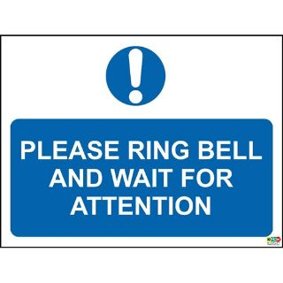 Picture of Please Ring Bell And Wait For Attention Sign